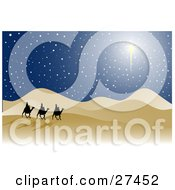 Clipart Illustration Of The Three Wise Men Silhouetted Riding On Camels Through The Desert With A Bright Star In The Night Sky by KJ Pargeter