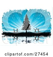 Clipart Illustration Of Silhouetted Boys And Girls Running And Playing In Tall Grasses By An Evergreen Tree Over A Bursting Blue Snowing Background Reflecting On Still Water