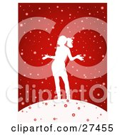 Clipart Illustration Of A Happy Woman Silhouetted In White Holding Her Arms Out And Standing In The Snow On A Red Background by KJ Pargeter