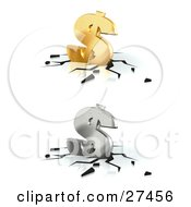 Clipart Illustration Of Golden And Silver Dollar Signs Crashing Down Into A White Surface With Black Cracks