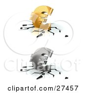 Clipart Illustration Of Gold And Silver Euro Currency Signs Crashing Down Into A White Surface With Black Cracks