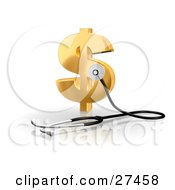 Clipart Illustration Of A Stethoscope Up Against A Golden Dollar Sign Symbolizing Economy Debt And Savings by Frog974