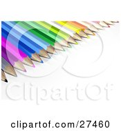 Clipart Illustration Of A Bunch Of Color Pencils With Sharpened Tips Resting In A Row On A White Surface by Frog974