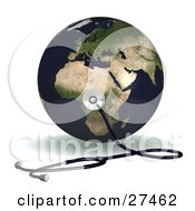 Clipart Illustration Of A Stethoscope Up Against Planet Earth On The African Continent Symbolizing World Heath Or Ecology