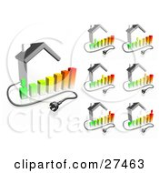 Clipart Illustration Of Electrical Cables Coming From Houses With Bar Graphs Showing Different Energy Usage Ranging From Low Use To High Use
