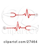 Clipart Illustration Of Two Red And Silver Stethoscopes With Heart Rate Waves Traveling Down The Cord