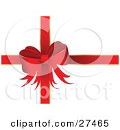 Clipart Illustration Of A Big Red Bow And Ribbons Adorning A White Christmas Valentines Day Or Anniversary Gift