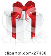 Clipart Illustration Of A White Christmas Present Box Wrapped With A Red Bow And Ribbon Over White