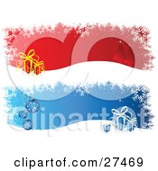 Clipart Illustration Of Red And Blue Backgrounds With Snowflakes Trees And Gifts