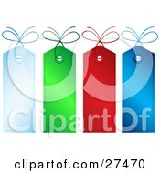 Clipart Illustration Of A Collection Of Four Blue Green And Red Blank Christmas Gift Tags With Matching Strings