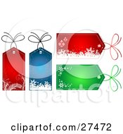 Collection Of Four Red Blue And Green Christmas Gift Tags With Snowflakes And Ornaments