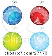 Clipart Illustration Of A Collection Of Four Blue Red And Green Circular Christmas Gift Tags With Snowflakes Stars And Christmas Trees