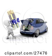 Clipart Illustration Of A White Character Carrying A Stack Of Christmas Presents And Loading Them Into The Trunk Of A Blue Compact Car