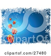 Clipart Illustration Of Red Christmas Presents Magically Falling From The Sky Over A Blue Background White White Snowflakes And Grunge