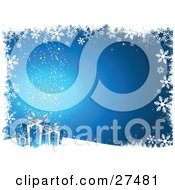 Clipart Illustration Of Three Blue And Silver Christmas Presents Resting On A Hill Over A Gradient Background With Twinkles And A Border Of Grunge And Snowflakes