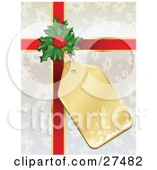 Clipart Illustration Of A Gold Snowflake Gift Tag Attached To Holly And Red Ribbon On A Silver Snowflake Gift Wrapped Present