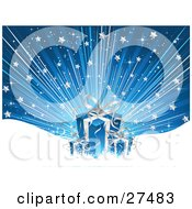Clipart Illustration Of A Blue And Silver Christmas Present Over A Blue Bursting Background With Stars And Snow