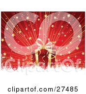 Clipart Illustration Of A Red And Gold Christmas Present Over A Red Bursting Background Of Stars With White Grunge