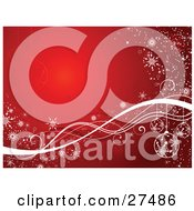 Clipart Illustration Of A Red Background With Ornaments Waves And Snowflakes In White