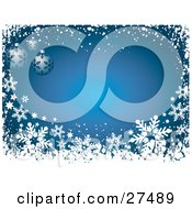 Clipart Illustration Of Three Blue Christmas Ornaments With Dark Blue Snowflake Patterns Over A Blue Background Bordered With Snowflakes And Snow