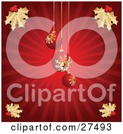 Clipart Illustration Of Three Red Christmas Tree Ornaments With Golden Snowflake Patterns Hanging Over A Bursting Red Background With Gold Holly In The Corners