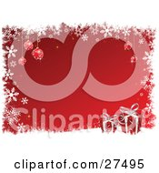 Clipart Illustration Of A Red Background Bordered By White Snowflakes Grunge Red Snowflake Ornaments And Two Xmas Gifts