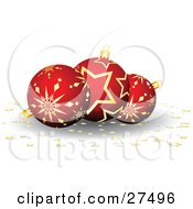 Clipart Illustration Of Three Red And Gold Star Patterned Christmas Ornaments With Gold Star Confetti On A White Background