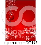Clipart Illustration Of Three Red Christmas Tree Ornaments Suspended Over A Red Background With Red And White Waves And Snowflakes