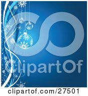Clipart  Illustration  Of  Two  Blue  And  White  Christmas  Ornaments  With  Snowflake  Patterns  Over A Gradient  Blue  Background  With  Ribbons  And  Snowflakes