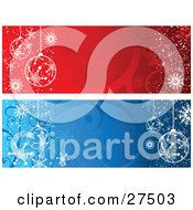 Clipart Illustration Of Red And Blue Web Site Banners Of White Ornaments And Snowflakes On Backgrounds With Swirls