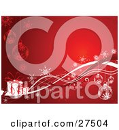 Clipart Illustration Of A Glowing Red Background With Snowflake Ornaments Snowflakes And White Gifts With Red Ribbons
