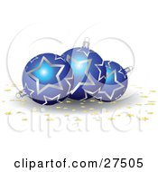 Clipart Illustration Of Three Blue And Silver Star Patterned Christmas Ornaments With Gold Star Confetti On A White Background