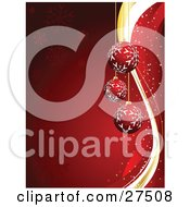 Three Red Snowflake Patterned Ornaments Suspended Over A Red Background With Snowflakes And Waves by KJ Pargeter