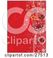 Red Snowflake Patterned Ornaments And Gold Stars Suspended Over A Red Swirl Background With Snowflakes