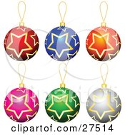 Collection Of Red Blue Orange Pink Green And Silver Star Patterned Christmas Tree Ornaments