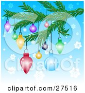 Clipart Illustration Of Colorful Christmas Tree Ornaments Hanging From A Tree Branch Over A Blue Snowflake Background