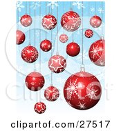 Background Of Red And White Christmas Tree Ornaments With Star And Snowflake Patterns Suspended Over Blue With Snowflakes