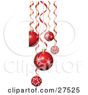 Clipart Illustration Of A Background Of Red And White Christmas Tree Ornaments With Star And Snowflake Patterns And Curled Ribbons Suspended Over White