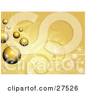 Clipart Illustration Of A Group Of Gold Snowflake And Star Patterned Christmas Ornaments Hanging Over A White Snowflake And Swirl Background