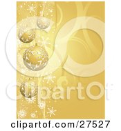 Clipart Illustration Of Four Golden Christmas Baubles With Snowflake Patterns Suspended Over A Gold Swirl Background