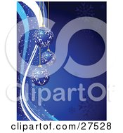 Three Dark Blue Christmas Ornaments With White Snowflake Patterns Over A Gradient Blue Background With Snow Flakes And Sparkles