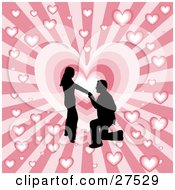 Clipart Illustration Of A Black Silhouetted Man On His Knees Proposing To A Woman Over A Pink Bursting Heart Background