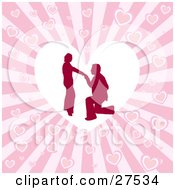 Clipart Illustration Of A Silhouetted Man On His Knees Proposing To A Woman Inside A White Heart Over A Pink Bursting Heart Background