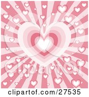 Clipart Illustration Of A Bursting Red And Pink Background With A Big Heart In The Center And Small Hearts Scattered