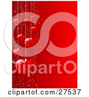 Clipart Illustration Of A Group Of Suspended Red Hearts And White Sparkles Along The Left Edge Of A Red Background
