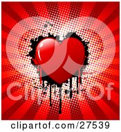 Clipart Illustration Of A Red Bleeding Heart With Black Grunge Over A White And Red Bursting Background
