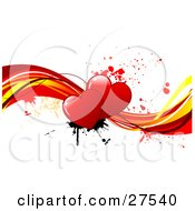 Couple Of Red Hearts With Black And Red Paint Splatters On Red And Yellow Waves Over A White Background