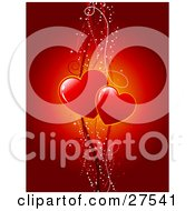 Clipart Illustration Of A Red Vertical Background Of Two Hearts On Red Strings With Sparkles