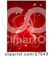 Clipart Illustration Of Two Red Hearts With Plants Sprouting From Them And White Butterflies Fluttering Over A Red Background