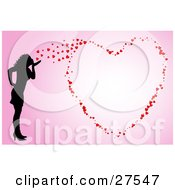 Clipart Illustration Of A Silhouetted Woman Blowing Kisses That Form A Big Heart On A Pink Background by KJ Pargeter